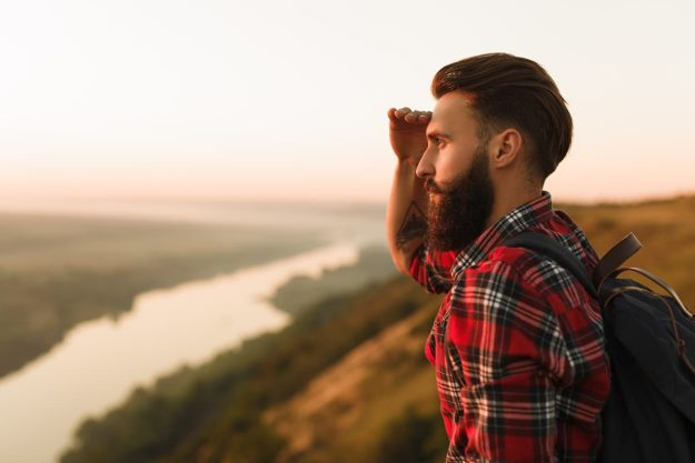 man undergoing an experiential therapy session in nature